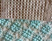 "Morgan Jones Mocha Rosebud Chenille Bedspread 36""x24"" Fabric white Rosebuds on White"