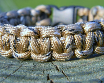 Tan Brown Black and White Woven Paracord Survival Bracelet Father Men Graduation Black Friday Christmas Gift