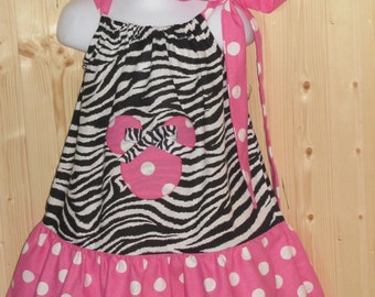 Custom handmade minnie mouse pink polka dot zebra with hairbow size 3m to 5t