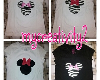 Tshirt handmade minnie mouse applique zebra red polka dot pink polka dot 12mos up to girls