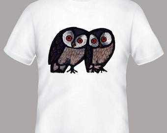 Happy Owls Celestino PIatti Illustration Tshirt, sizes s, m, l, xl, 2xl, 3xl, 4xl