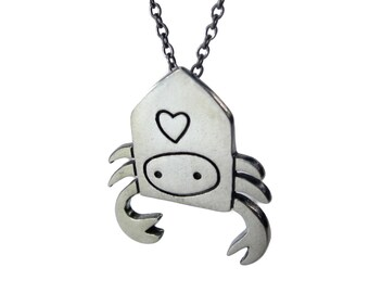 Hermit Crab Necklace - Pewter Hermit Crab Pendant