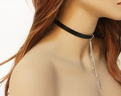 Sexy Black Choker, Simple Leather Choker Necklace, Genuine Black Leather Collar, Silver Chain Dangle, Everyday Choker