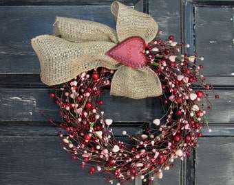 LAST ONE! - Valentine Wreath - Pink Heart & Red Berry Wreath - Rustic Door Decor - Pip Berry Wreath - Valentine's Day - Valentine Garland