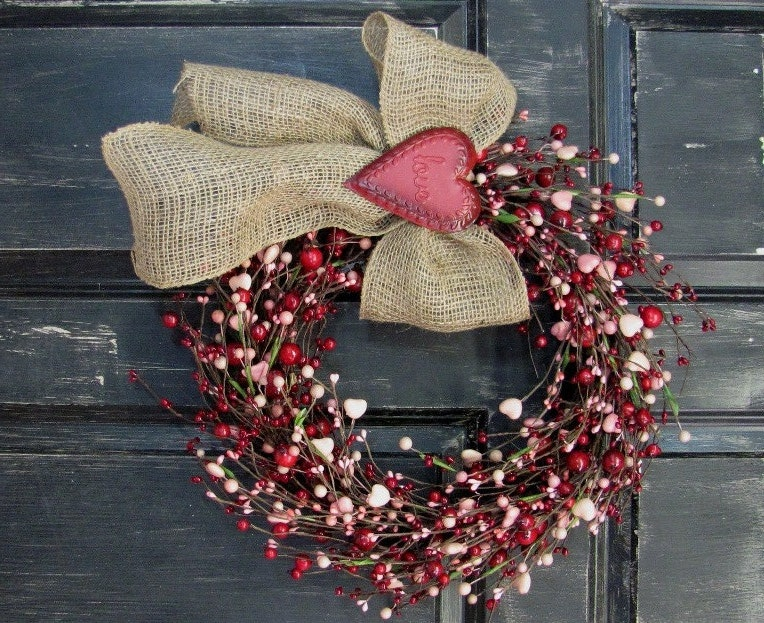 Valentine Wreath Pink Heart & Red Berry Wreath Rustic Door