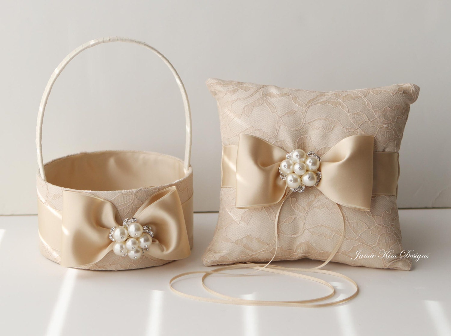 Flower Girl Baskets And Ring Pillows : Laced ring bearer pillow and flower girl basket set custom