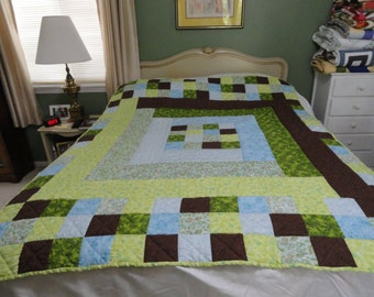 Hand quilted lap or throw quilt