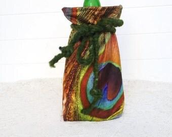 Wine Bag Gift Bag Peacock Velvet