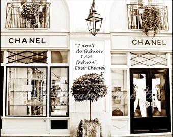 Chanel Art-I AM fashion Quote - Coco Chanel- Sepia Print- Fashion Photography -Paris Print- France-Preppy- Dorm Decor-Vintage-Nursery-Classy