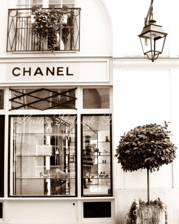 Chanel boutique chanel wall art portrait style sepia for Retro shop paris