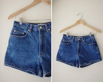perfect HIGH WAISTED denim jean medium blue SHORTS