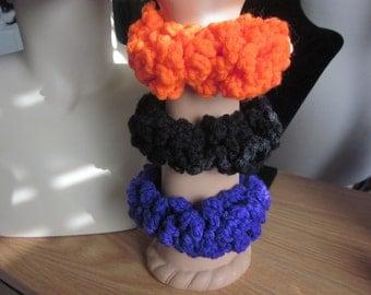 Halloween - Purple, Bright Orange, and Black Large Loops Scrunchie/Ponytail Holder