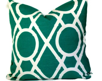 Robert Allen Bamboo, Decorative Pillow, Accent Pillow, 18x18 20x20 22x22 or 14x20 Lumbar Pillow, Turquoise and White