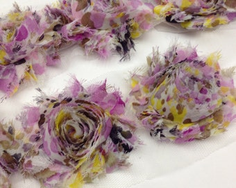 By the yard- Purple and yellow Floral- Shabby Flowers/ Shabby Trim/ Shabby Chic --full yard approx. 14 flowers. -1/2 yard, approx. 7 flowers