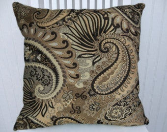 Black Silver Gold Paisley Pillow Cover--18x18 or 20x20 or 22x22 Decorative Throw Pillow--Paisley Flowers-Black, Grey, Brown
