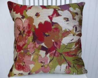 Pink, Green Pillow Cover--18x18 or 20x20 or 22x22 Robert Allen Floral Watercolor Accent Pillow