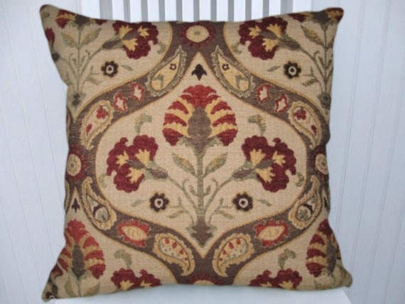 Mulberry  Decorative Pillow Cover--18x18 or 20x20 or 22x22 Stroheim Throw Pillow-- Red, Beige, Brown, Olive Green
