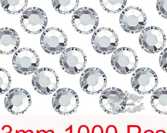1000 PCS X 3mm SS12 Round Clear White Rhinestone Bling 14 Faceted Cut Crystal Gems Resin Flatback Deco Den Nail Art Craft Supply (GM.R3WH)