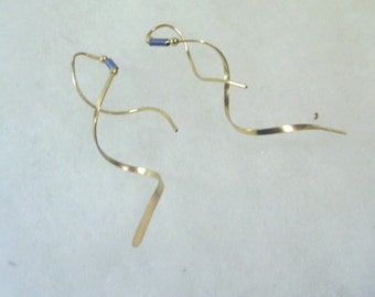 Gold Wire Spiral Thread-Through Earrings - Blue Coil