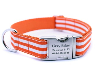 Monarch Stripe Laser Engraved Buckle Personalized Dog Collar - Orange