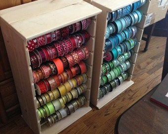 Double size Ribbon rack store display holds approx 500  4-5 inch spools. hinged & collapsible .