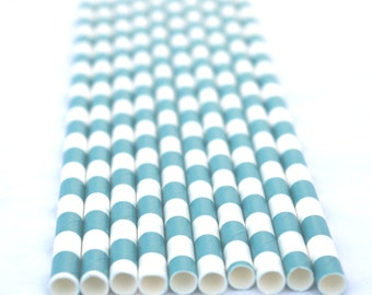 25 Turquoise Blue STRiPe Paper Straws 25ct- with Free Printable Flags