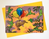 Kiwi Bird Balloons Greeting Card