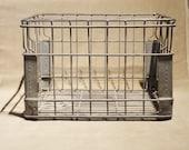 Vintage SUPERIOR Metal Wire Crate Industrial Milk Case Organization Mid-Century 1950s 60s