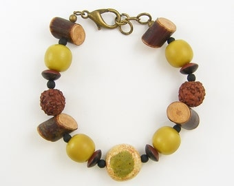 Brown Green Bracelet, Green Bead Bracelet, Wood Bead Bracelet, Chunky Bead Bracelet Olive Rust Brown Glass Wood Nut Earth Tone Bracelet