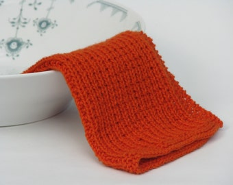 Hand knitted dish cloth - wash cloth - soft cotton burnt orange rust