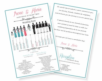 Bridal Party Wedding Program, 2-sided, Letterhalf, 5.5x8.5 Wedding Program