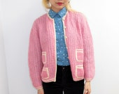 Vintage 70s Evan Picone Sweet Pink Kawaii Grandma Sweater Cute Pockets Knit Cardigan Mohair  Strawberry Girly Pocky Size small/ Medium