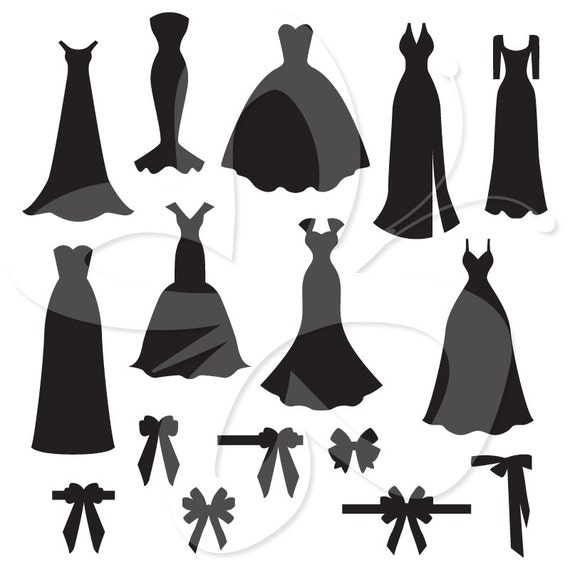 Wedding Gown Clip Art: Wedding Dress And Bow Silhouettes Digital By