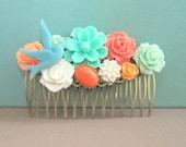 Mint Green Coral Turquoise Wedding Hair Comb Bridal Head Piece Bridesmaid Hair Pin Gift Peach Orange Floral Flower Bird Hair Accessories