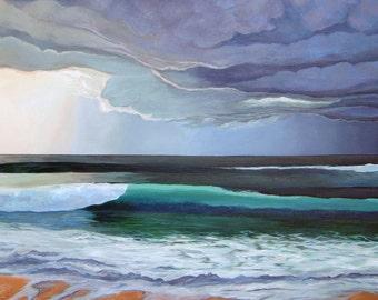 "LAVENDER SKIES   10"" x 20"" Giclee on Canvas/ Fine Art Print/ Surf Art"