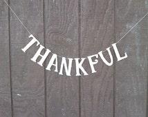 Thankful Garland Banner Silver German Glass Glitter Handmade Hollidays Decoration Thanksgiving Fall