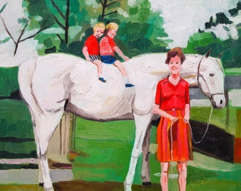 "My Mom, Brother, and Myself. Oil on Canvas. 20"" x 20"". Portrait. Horse."