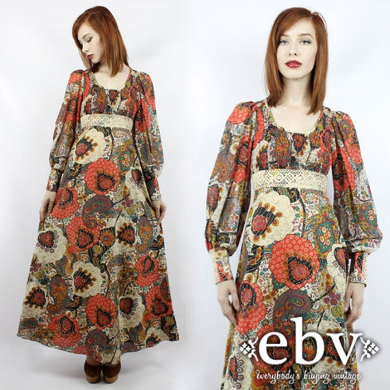 vintage hippie dress vintage floral dress hippy dress boho