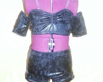 Black Leather Look Spandex Dance Costume