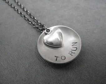 LOVE (Heart) TO RUN - Running Necklace on gunmetal chain - Running Jewelry - Run Necklace - Love to Run - Runner Jewelry - Valentine - Run