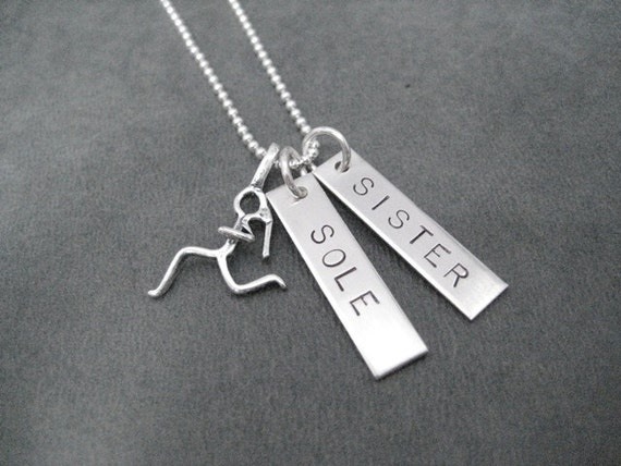 SOLE SISTER Runner Girl Sterling Silver 2 Pendant Necklace - 16, 18 or 20 inch Sterling Silver Ball Chain - Running Buddy Necklace - Partner