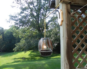 Stained Glass Lamp with Edison Bulb- Brown