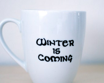 "Game of Thrones Mug with Stark Motto ""Winter is Coming"""