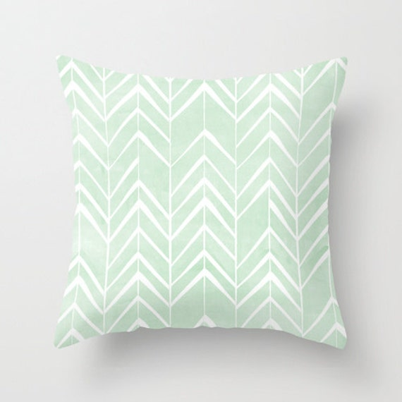 Mint Chevron Arrows throw pillow cover
