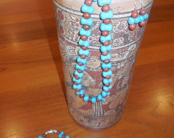 Turquoise and Red Jasper Necklace, Bracelet & Earrings Gemstone Beaded Jewelry Set with Silver-Plated Magnetic Clasp and Findings (42)