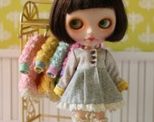 PO - Anniedollz Blythe Outfits Woollen Flared Coat - Grey Dove