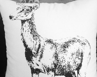 Gorgeous illustrated deer printed cotton cushion cover