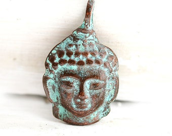 Buddha face pendant, Green patina on copper, buddha charm, Lead Free, yoga jewelry, tibetan charm, greek metal casting - F121