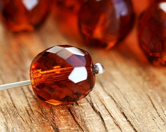 10mm Round beads - brown Topaz  - fire polished beads, faceted czech glass, 6Pc - 2063