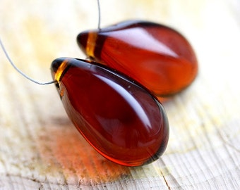 Long Drop beads, Brown Topaz Teardrops, czech glass, large Briolettes, beads pair - 15x24mm - 2Pc - 2532